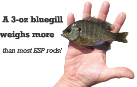 A 3-oz bluegill weighs more than most ESP rods!